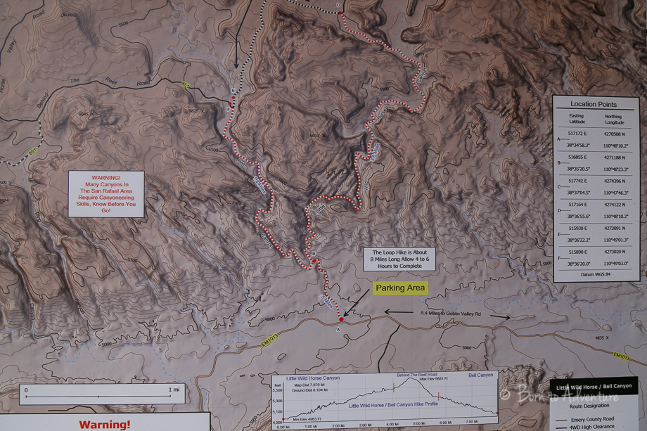 Map of Little Wild Horse Canyon